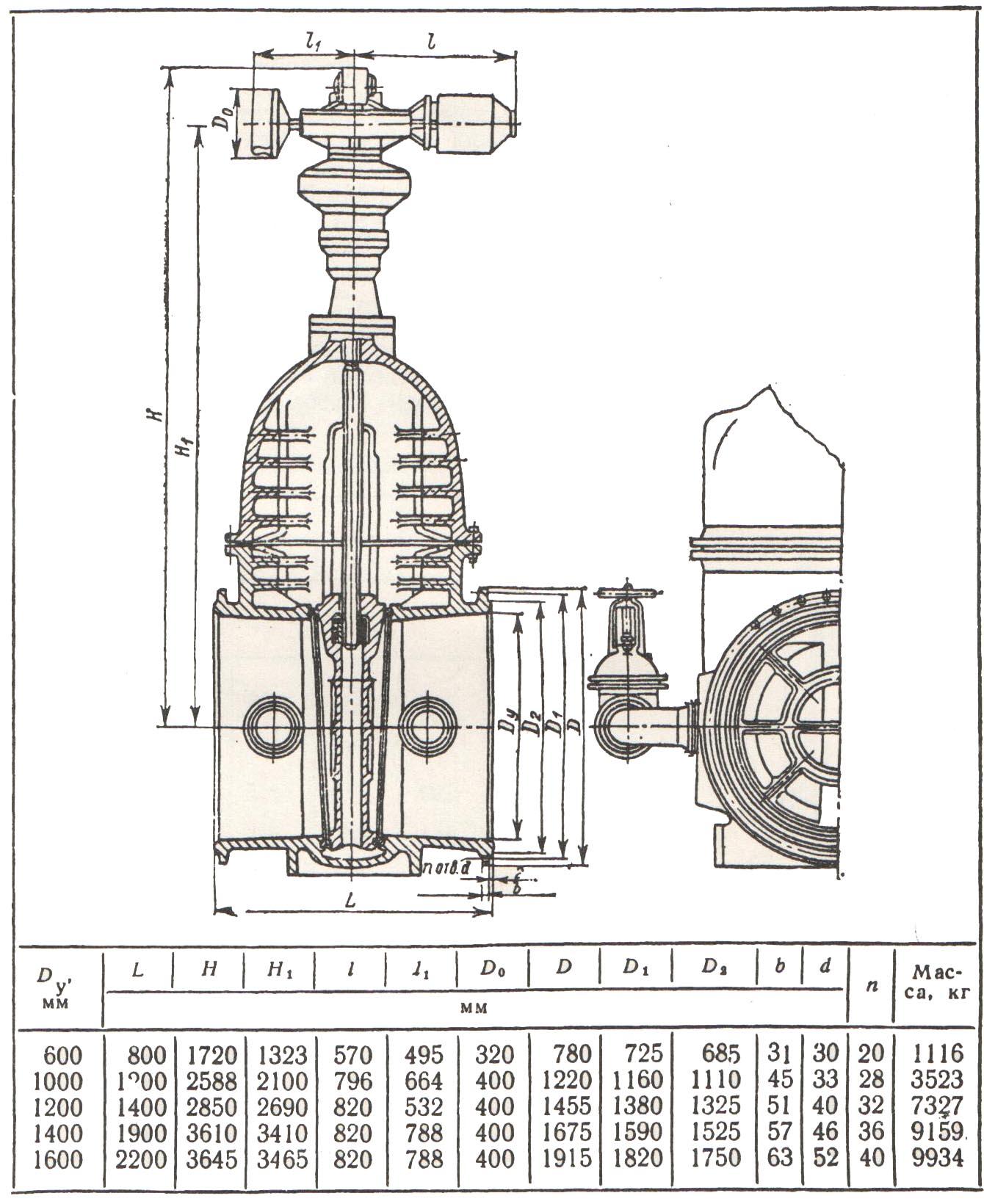 На рисунке 1 показаны основные размеры для чугунных задвижек типа 30ч906бр с электроприводом