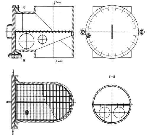 Чертеж фильтра ФПТ от Ду 300 до Ду 600 мм.