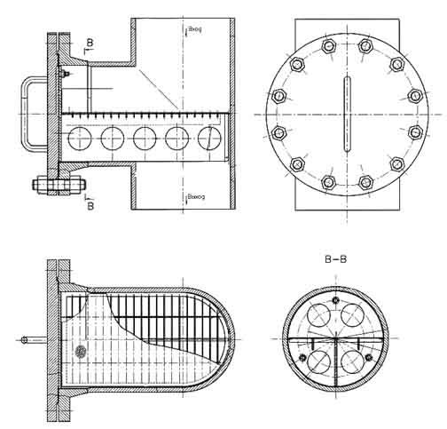 Чертеж фильтра пускового тройникового ФПТ Ду 80 – Ду 250 мм.