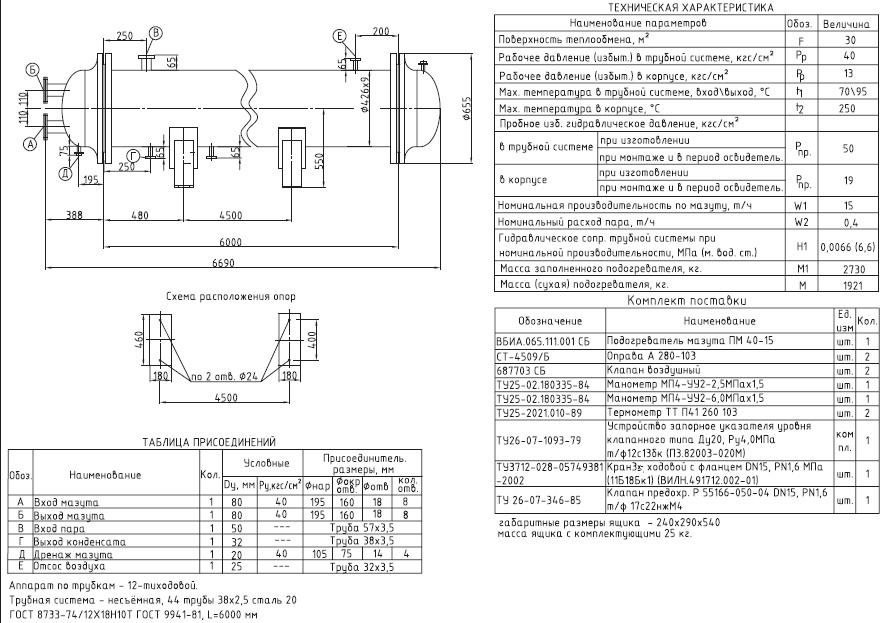 Подогреватель мазута ПМ 10-120 Минеральные Воды защитный теплообменник для твердотопливных котлов