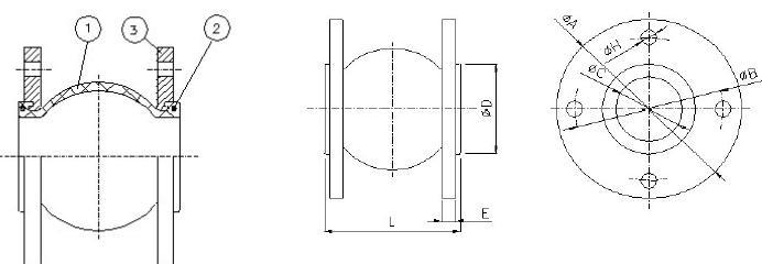 Чертеж-схема резинового компенсатора Genebre фланцевого